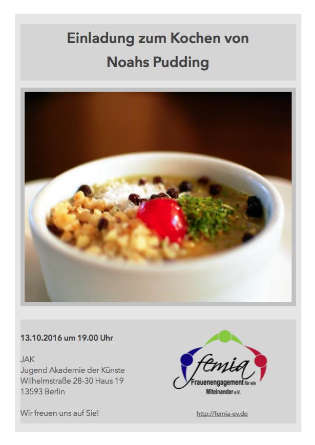 Einladung zum Kochen von Noahs Pudding - femia e.V.